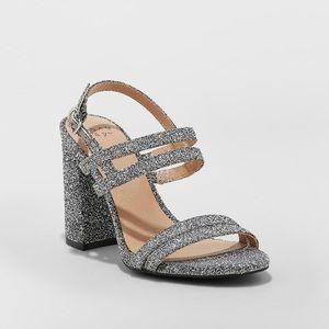 Estella Strappy Silver Sparkle Block Heels